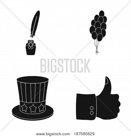 Balloons, inkwell with a pen, Uncle Sam s hat. The patriot s day set collection icons in black style vector symbol stock illustration .