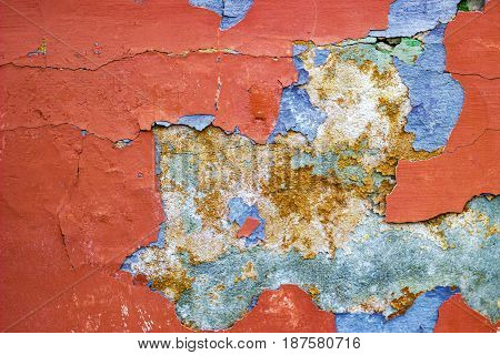 texture of old painted wall with defects background
