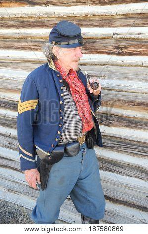 JULY 24, 2015. CASPER, WY. CIRCA:  Calvary reenactor soldier posing outside in Casper, Wy.