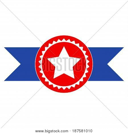 Star Seal With Ribbons flat vector pictogram. An isolated illustration on a white background.