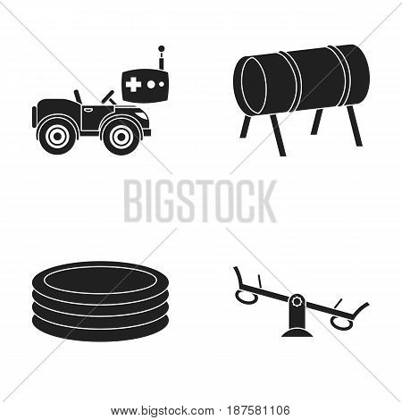 Machine for radio control, tunnel, trampoline, swing. Playground set collection icons in black style vector symbol stock illustration .