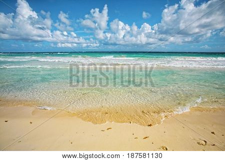 Beautiful beach in the Caribbean sea. blue sky