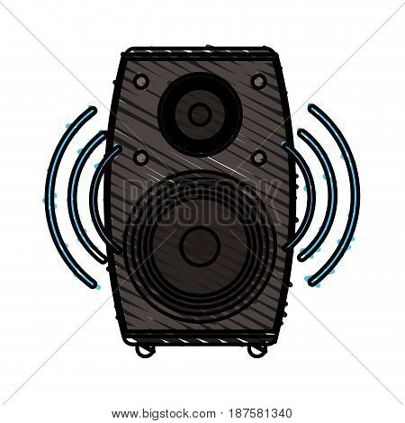 colorful crayon silhouette of loudspeaker in wood box vector illustration