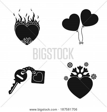 Hot heart, balloons, a key with a charm, a cold heart. Romantic set collection icons in black style vector symbol stock illustration .