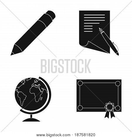 Red pencil, a sheet of paper with a blue handle, a diploma with a seal, a globe on a stand.School set collection icons in black style vector symbol stock illustration .