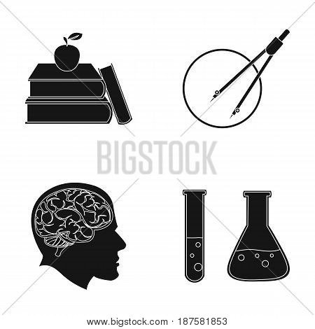 Books, an apple, a man s head with a brain, test tubes with a reagent, a compass with a circle. School set collection icons in black style vector symbol stock illustration .