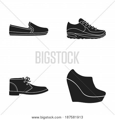 Macadoles on the sole, sneakers with laces, men s shoes at the outfits, women s low shoes on a high platform. Shoes set collection icons in black style vector symbol stock illustration .