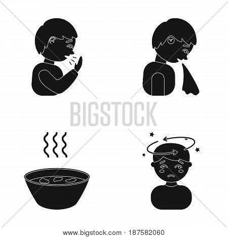 A sneezing man, a boy with a handkerchief, a patient with a headache, a hot broth, a drink in a plate, a cup. Sick set collection icons in black style vector symbol stock illustration .