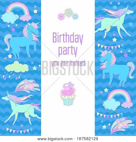 Hand-drawn elements rainbow, unicorn, cloud, cake, sweets, stars, flag for patches, stickers, design cards and leaflets Cartoon elements characters