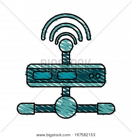 colorful crayon silhouette of wireless router network vector illustration
