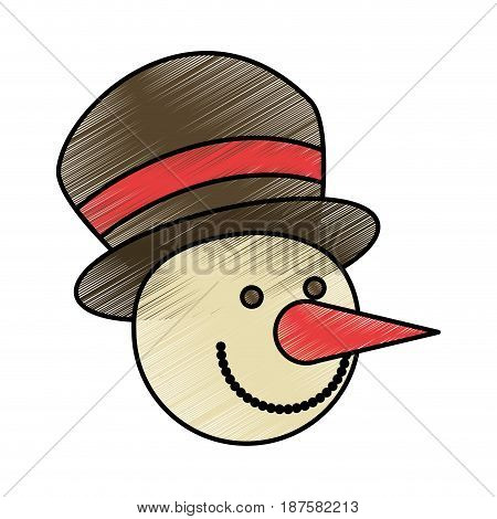 colorful crayon silhouette with face of snowman with hat vector illustration