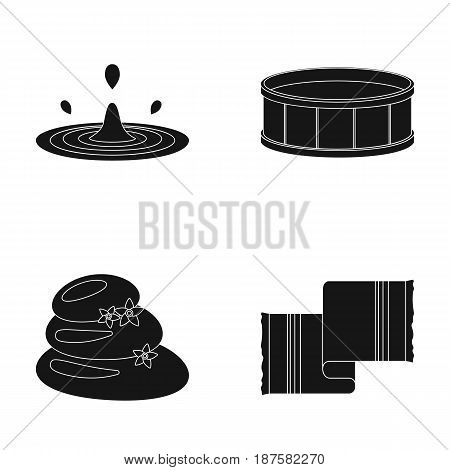 Drops of water, pool or basin with hot water, spa stones with lotus flowers, towel for the pool. Spa set collection icons in black style vector symbol stock illustration .