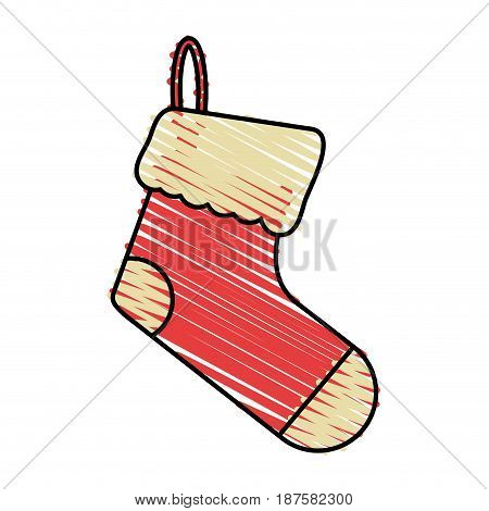 colorful crayon silhouette of ornament christmas boots vector illustration