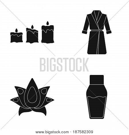 Multicolored candles with a flame, a blue robe with a belt, a lotus flower with petals, a bottle of cream. Spa set collection icons in black style vector symbol stock illustration .