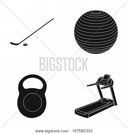 Hockey stick with puck, ball, weight, treadmill. Sport set collection icons in black style vector symbol stock illustration .