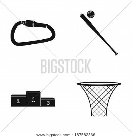A lock for a bicycle, a ball with a ball for baseball, a podium, a basket with a basket for basketball. Sport set collection icons in black style vector symbol stock illustration .