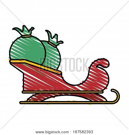 colorful crayon silhouette of santa claus sleigh with bags with gifts vector illustration