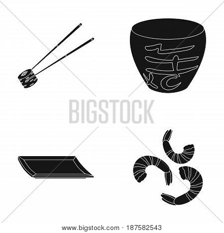 Sticks, shrimp, substrate, bowl.Sushi set collection icons in black style vector symbol stock illustration .