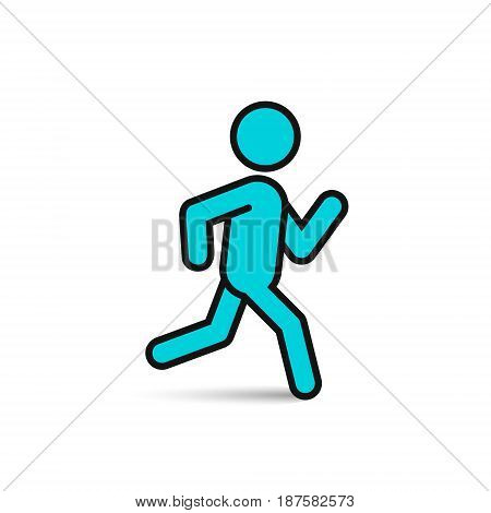 Running man color icon vector isolated silhouette run symbol.