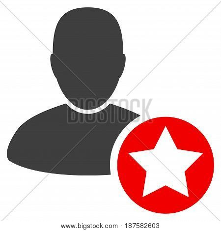 Star Favourites Person flat vector pictogram. An isolated illustration on a white background.