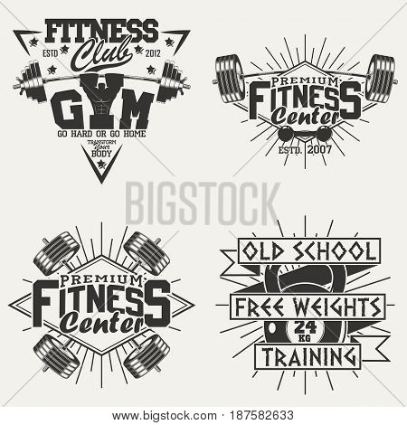 Set of Vintage t-shirt graphic designs,  grange print stamps, fitness typography emblems,  gym sports logo Creative design, Vector