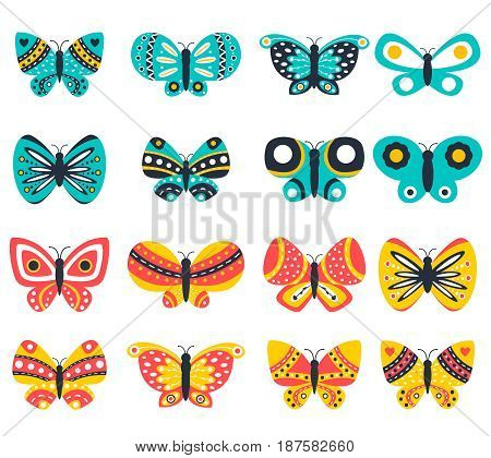 Colorful butterflies isolated on white background. Pretty vector butterfly set