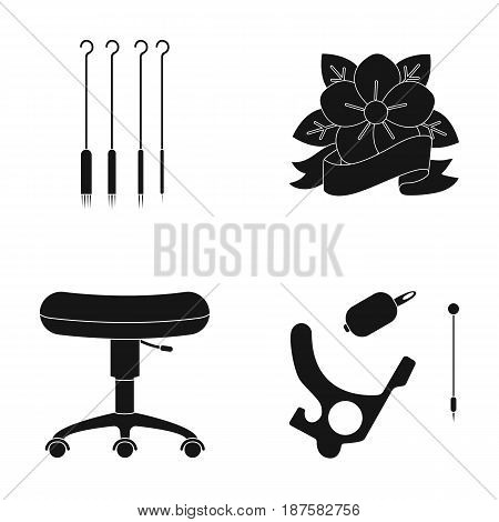 Chair on rollers, needles for tattoo and other equipment. Tattoo set collection icons in black style vector symbol stock illustration .