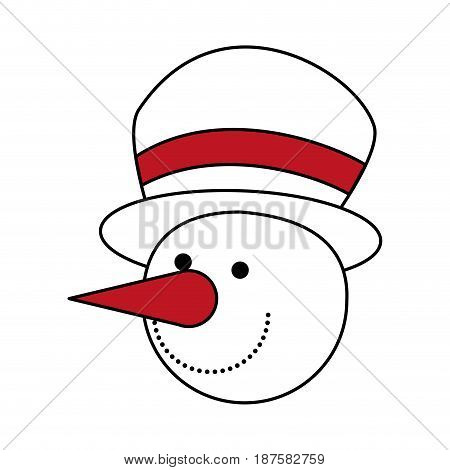 color silhouette image of face of snowman with hat vector illustration