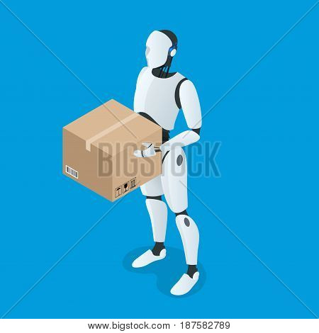 Isometric autonomous Delivery Robot. Flat vector Isolated on white illustration