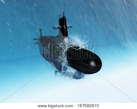 The military ship leaves the water. .3d render