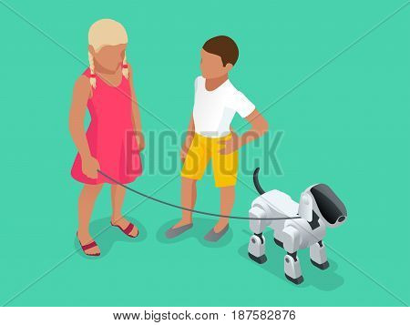 Isometric Techno Robot concept. A girl and a boy on a walk with a robot dog