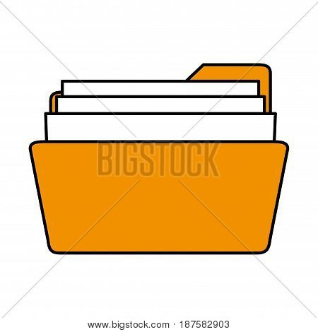 color silhouette image of opened folder with sheets vector illustration