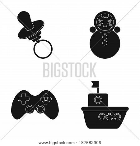 Nipple, doll tumbler, joystick, ship.Toys set collection icons in black style vector symbol stock illustration .