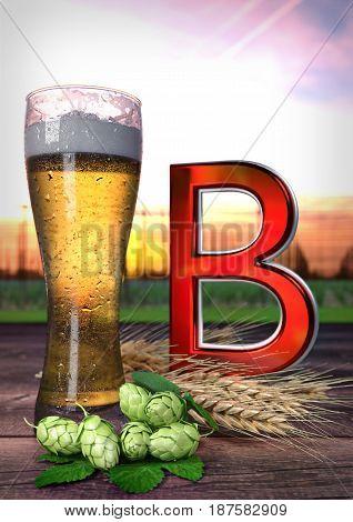 the impact of beer on health. Vitamin B. 3D render