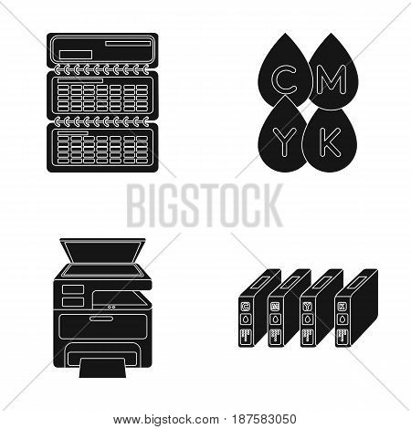 Calendar, drops of paint, cartridge, multifunction printer. Typography set collection icons in black style vector symbol stock illustration .