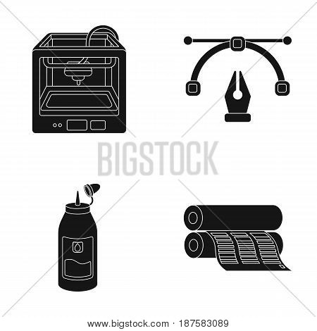 3D printer, newspaper printer, ink, pen. Typography set collection icons in black style vector symbol stock illustration .