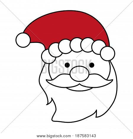 color silhouette image of front face santa claus with christmas hat vector illustration