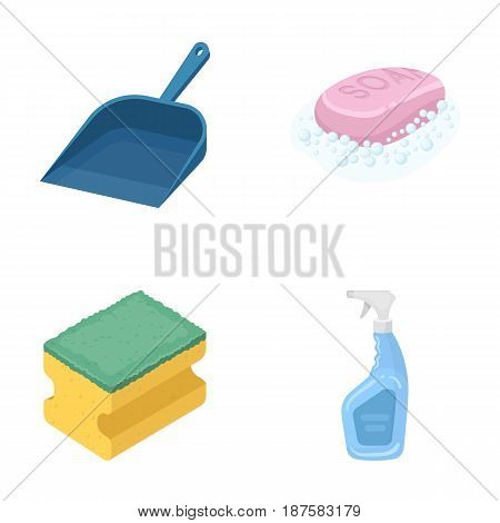 Blue scoop for garbage, pink soap with foam, sponge for washing, pulvelizer for with a means for windows. Cleaning set collection icons in cartoon style vector symbol stock illustration .
