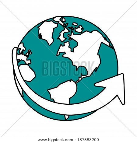 color silhouette image of planet earth vector illustration