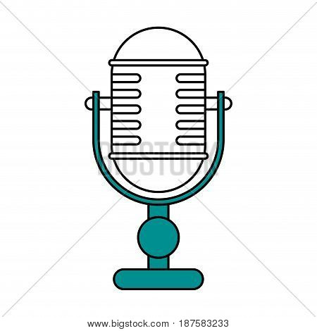 color silhouette image of desk microphone of adjustable angle vector illustration