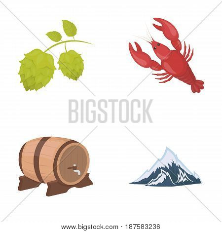 Alps, a barrel of beer, lobster, hops. Oktoberfest set collection icons in cartoon style vector symbol stock illustration .
