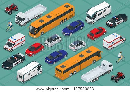 Flat isometric high quality city transport car icon set. Urban public and freight transport. For infographics, design and game.