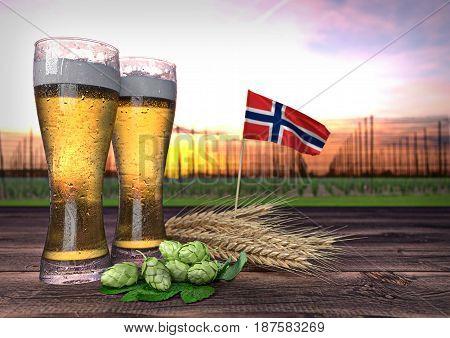 concept of beer consumption in Norway - 3D render