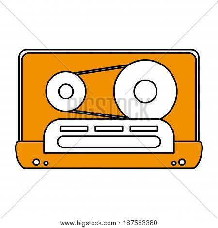 color silhouette image of tape cassette vector illustration