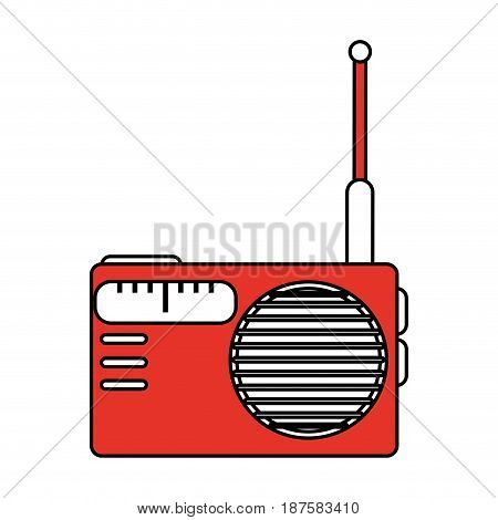 color silhouette image of portable radio vector illustration
