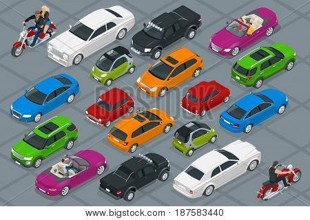 Car icons. Flat 3d isometric high quality city transport. Set of urban public and freight transport.
