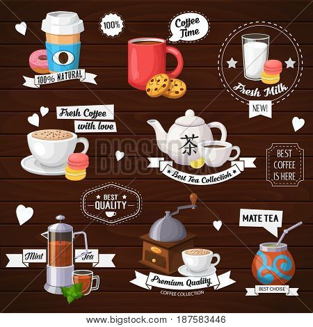 Colorful coffee vector labels set. Modern icons for coffee shop and coffee house. Colorful template for cooking and restaurant menu.