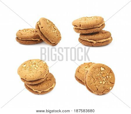 Two peanut butter homemade cookies isolated over the white background, set of four different foreshortenings
