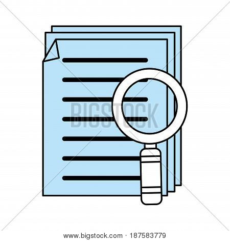 color silhouette image of search files with tool magnifying glass vector illustration