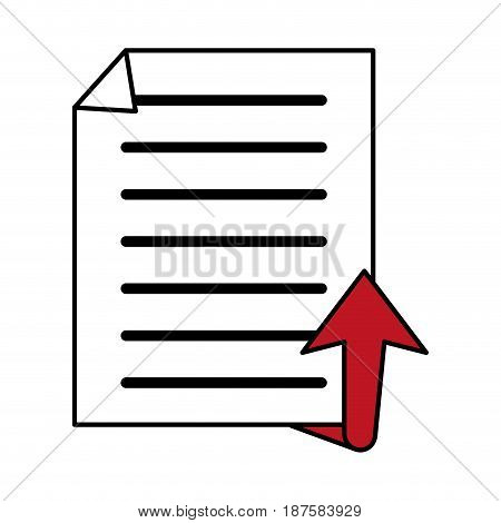color silhouette image of text sheet and arrow up vector illustration
